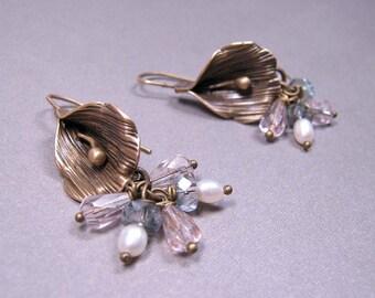 SALE - Calla Lily Earrings - Brass, Czech Glass, Freshwater Pearls (E-313)