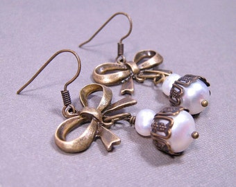 Pearl Bows Earrings - Freshwater Pearls and Brass Bows (E-321)