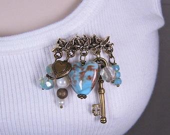 SALE - Brooch - Blue Heart and Skeleton Key - Goldtone Pewter (PB-07)