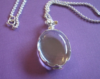 Glass Locket Necklace - Oval in Scalloped Sterling Silver on Sterling Silver Chain - Keepsake Item (GLSO-01)