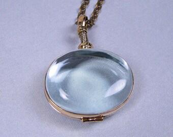 Glass Locket Necklace - Horizontal Oval in Brass Casing on Antique Brass Chain - Keepsake Item (GLBHO-01)