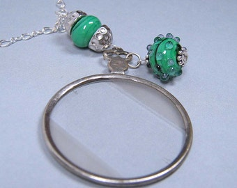 SALE - The Cranford Monocle Necklace - Emerald Green Lampwork Glass on Sterling Silver (Short Length) (CN-39)