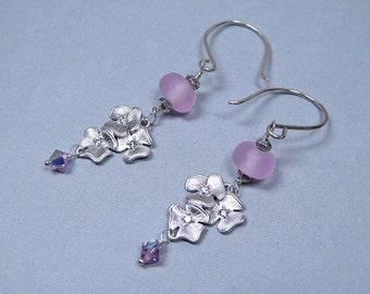 Pink Azalea Earrings - Lampwork Glass and Sterling Silver (E-384)