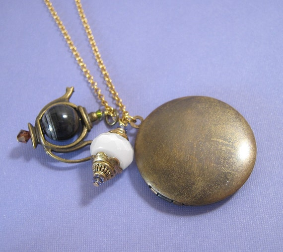 SALE - Brass Locket and Teapot Necklace on 14k Gold Fill Chain (N-52)
