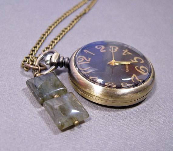 SALE - Pocket Watch Necklace - Small Size with Labradorite on Brass Chain (N-122)