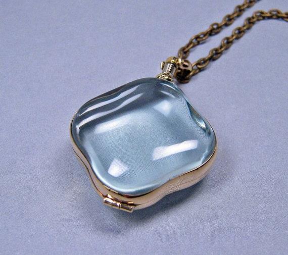 Glass Locket Necklace - Clover in Brass Casing on Antique Brass Chain - Keepsake Item (GLBC-01)