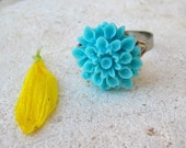 SALE- Adjustable Silver Plated Ring- Teal Blue Chrysanthemum Flower
