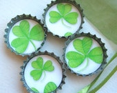 SALE- 4 Very Green Shamrock Clovers- Up-Cycled Paper and Bottlecap Magnets with Green Organza Bag