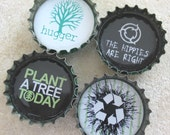 SALE- Earth Day Inspired Up-Cycled Bottle Cap Magnets with Metal Plate- Set of 4- Recycled and Eco-friendly