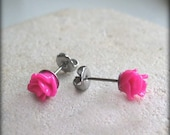 Titanium Earring Posts- Hot Pink Roses- Contains No Nickle- Great For Sensitive Ears