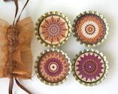 Brown and Cream Kaleidoscope Mandala Bottlecap Magnets with Bronze Organza Bag- Set of 4