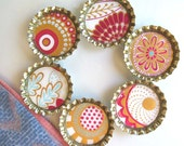 Bohemian Floral Patterns- Bottlecap Magnets with Hand-Sewn Up-Cycled Fabric Gift Bag- Set of 6