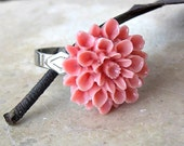SALE- Silver Plated Adjustable RIng- Light Pink Chrysanthemum Flower