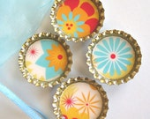 Bottlecap Magnets- Retro Flowers and Sunbursts in Teal, Orange, and Red with Organza Bag- Set of 4