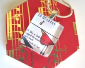 Musical Folk Bird- Small Glass Photo Pendant with Chain- In Music Themed Gift Box- Etsy Artist Collaboration with DeadpanAlley