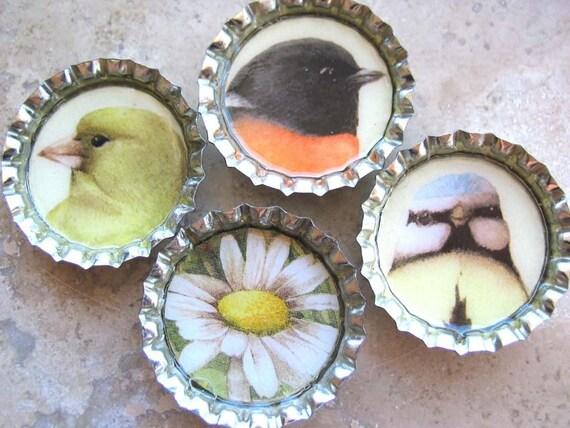 4 Bird and Flower Silver Bottle Cap Magnets