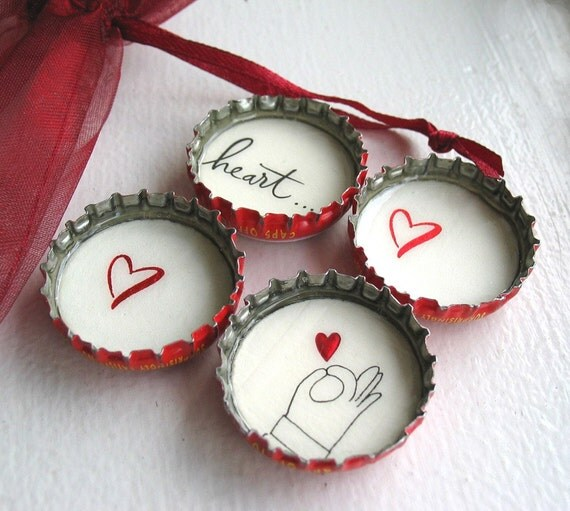 SALE- Hand Holding Red Heart- Up-Cycled Bottle Cap Magnets with Red Organza Bag- Set of 4- Recycled and Eco-friendly