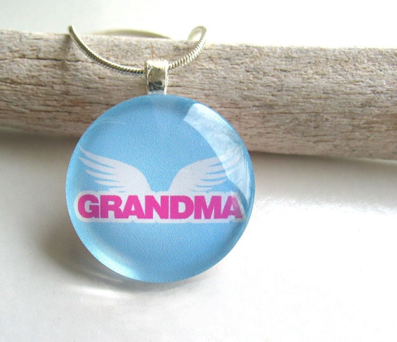 Grandma with Angel Wings- Round Glass Pendant with 24 Inch Silver Plated Snake Chain