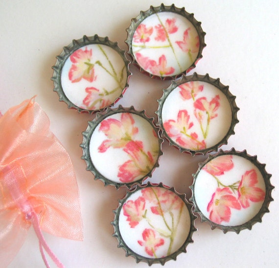 Pink and Tan Cherry Blossom Flowers- Up-Cycled Bottlecap Magnets with Pink Organza Bag- Set of 6- Recycled and Eco-Friendly