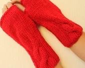 Scarlet Apple Red Fingerless Mittens Gloves Handwarmer Armwarmer Gifts for Women Christmas Gift Idea