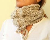 Wheat Hand Knit Scarf Cowl Drawstring Cable Chunky  Gift Under 30 Christmas Gift Idea