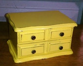 Upcycled Yellow Wooden Jewelry Box