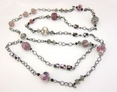 Pink and gunmetal grey necklace