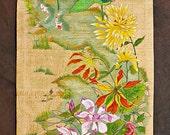 Custom Acrylic Art on Shantung Silk -Front Door Side Window Cover Scroll