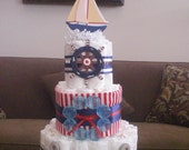 Nautical Diaper Cake Ahoy Its A Boy Baby Shower  other colors and sizes too