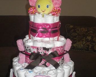 Custom Inital Diaper cake Baby Shower Gift  or centerpiece You pick the colors other toppers too