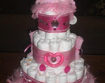 Bows and Bling Diaper Cake Girl Baby Shower other colors too.