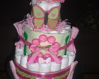 Pink  and Green Flower Rattle Diaper Cake  other colors  and toppers and custom too