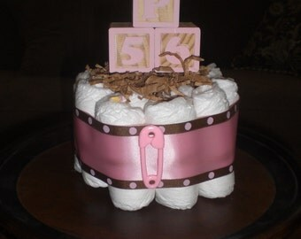 Block Baby Shower Centerpieces bundt size diaper Cakes Pink and Brown  other colors and sizes too
