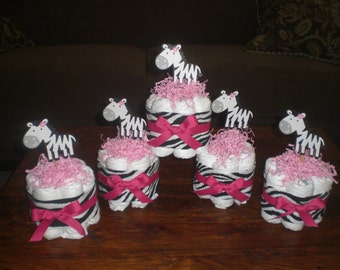 Zebra and Hot Pink Mini and Bundt Diaper Cakes and Bootie Washcloth Bouquets Baby Shower Centerpieces other colors too