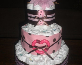 Pink and Brown polka Dot Diaper Cake baby shower centerpiece or gift other sizes and toppers available