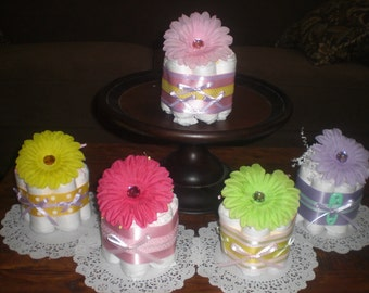 Flower Baby Shower Centerpieces mini diaper cakes different colors and sizes available too