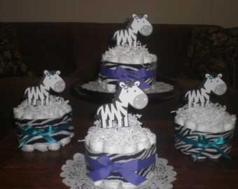Zebra Purple Diaper Cakes and Bootie Washcloth Bouquets Baby Shower Centerpieces other colors too