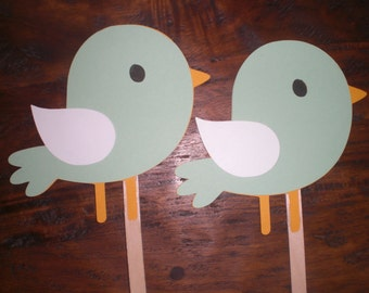 Baby Bird Baby Shower or Birthday Cupcake Toppers  You choose colors