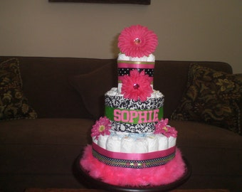 Hot Pink Black and Green Damask Polka Dot Personalized Diaper Cake  Baby Shower Centerpiece other colors, toppers and sizes
