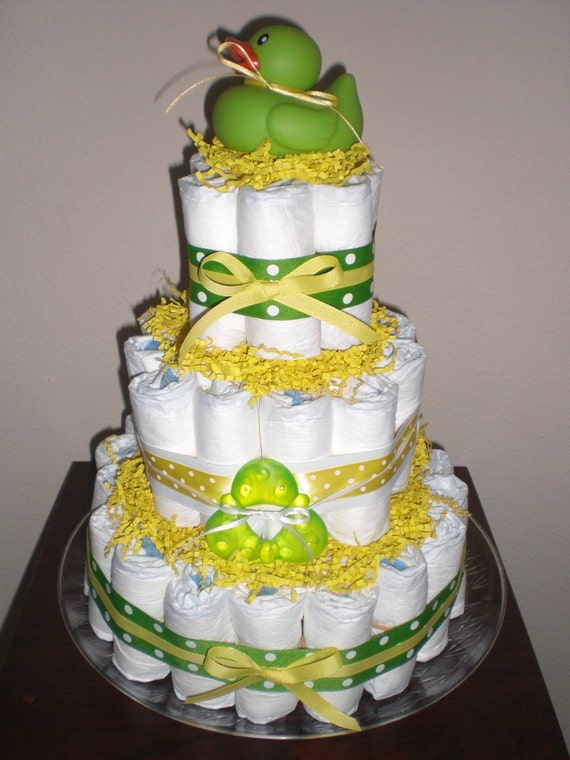 Green And Yellow Duck Diaper Cake Gender Neutral Baby Shower