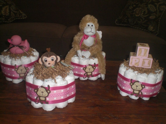 Monkey Girl or Boy Diaper Cake Baby Shower Centerpieces Mini and Bundt Cake different toppers available