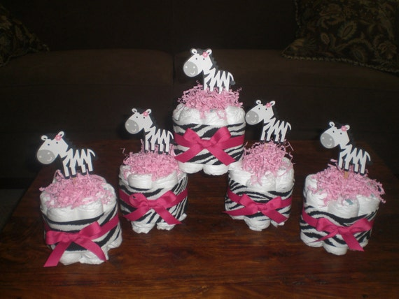 Items similar to zebra and hot pink mini and bundt diaper for Pink diaper bouquet