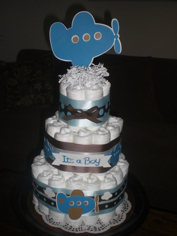Airplane Diaper Cake baby shower centerpiece or gift other sizes and colors too Zoom Zroom