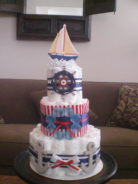 nautical diaper cake ahoy its a boy baby shower other colors