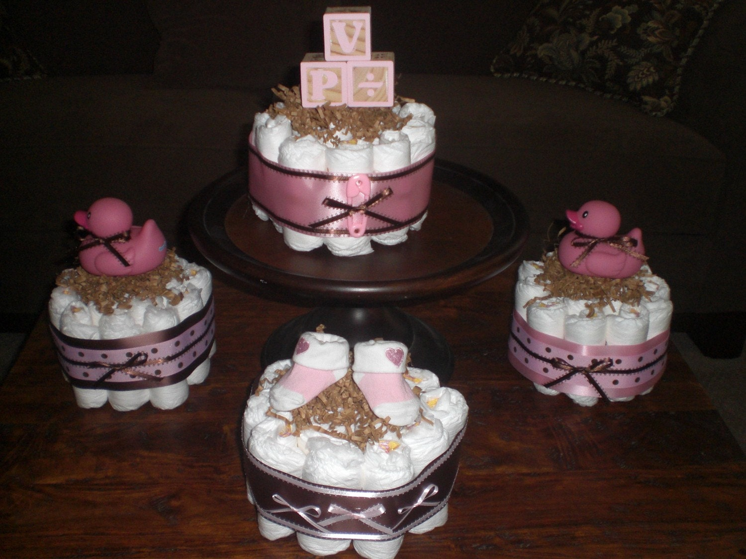 pink and brown baby shower centerpiece by bearbottomdiapercakes