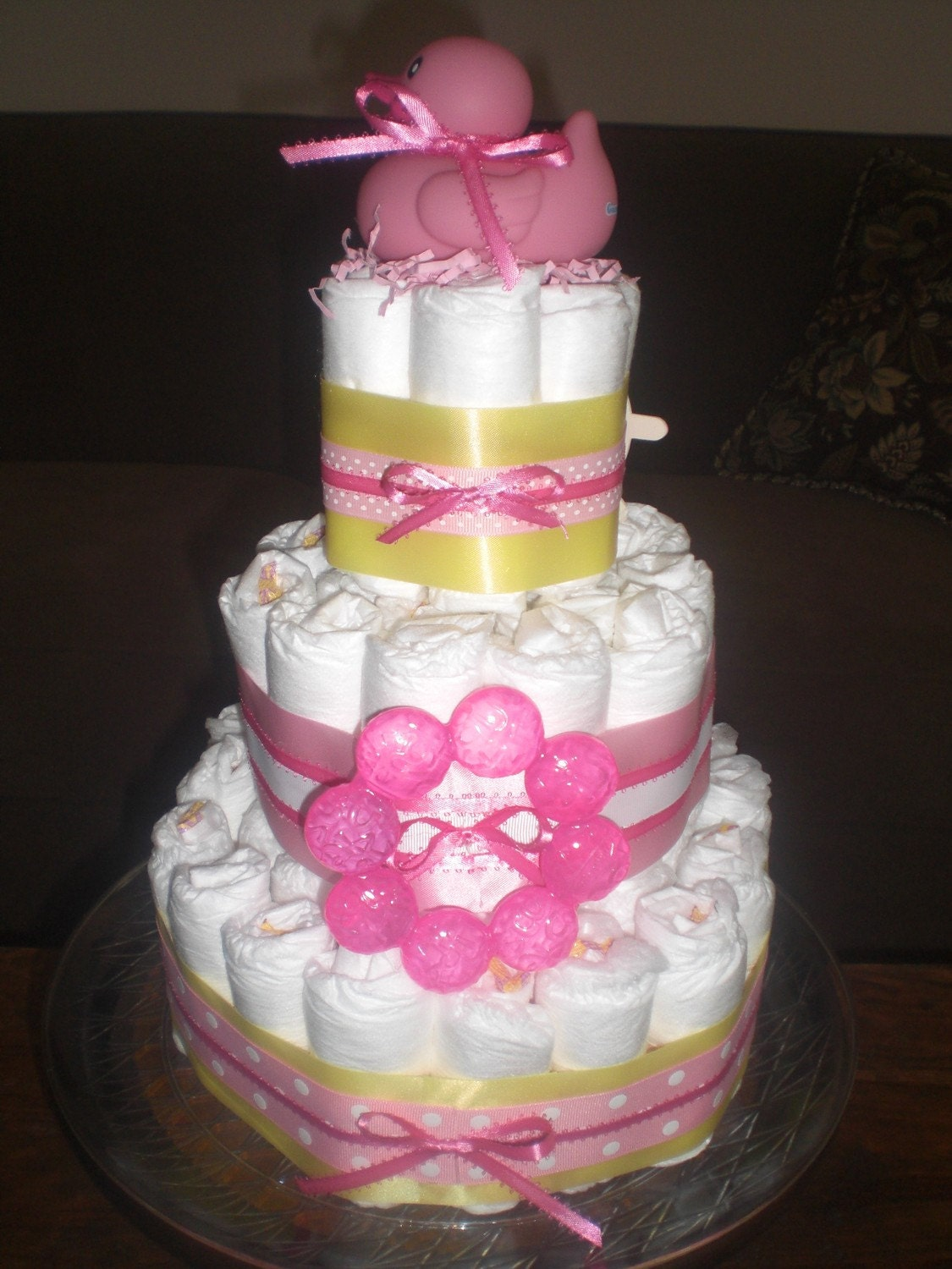 pink and yellow diaper cake baby shower centerpiece or gift