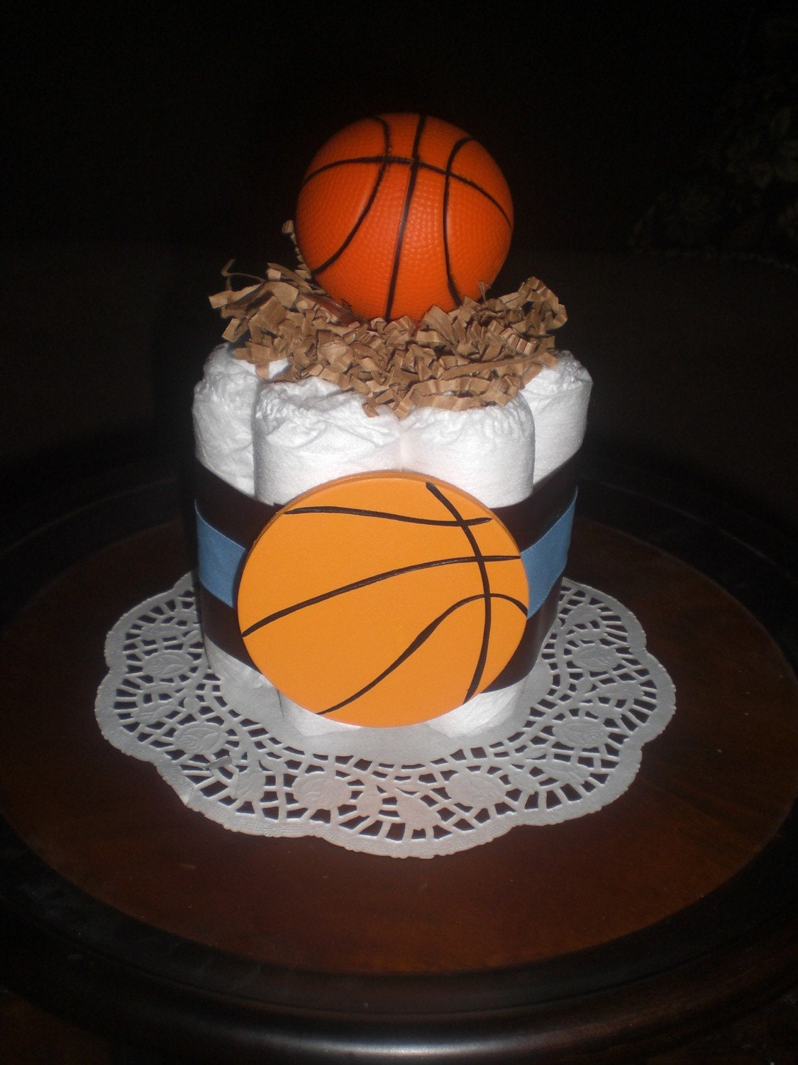 Basketball Mini Diaper Cake Or Baby Shower Centerpiece