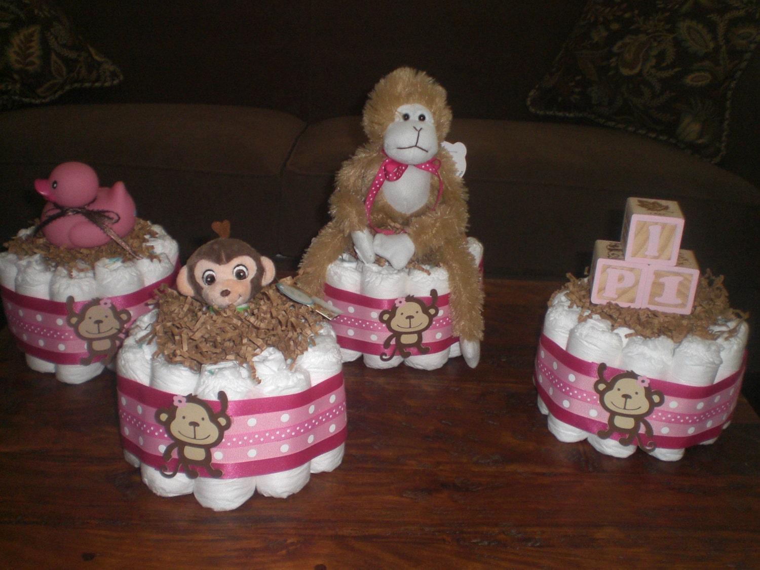 Monkey Girl Or Boy Diaper Cake Baby By Bearbottomdiapercakes