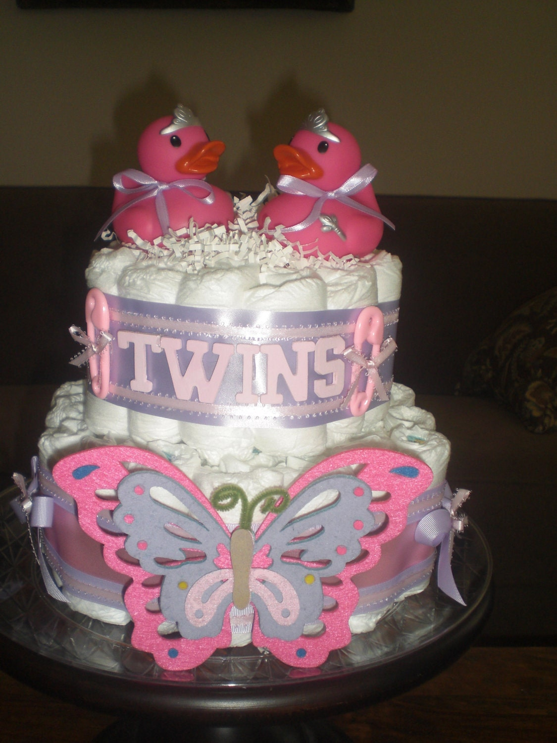 Twins diaper cakes baby shower gift or by for Baby shower decoration diaper cake