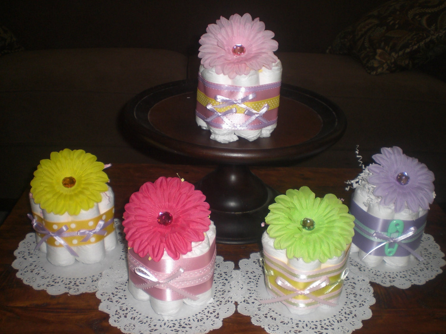 flower baby shower centerpieces mini diaper cakes different